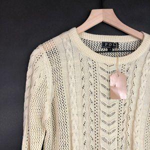 POL Cream-Beige Open Knit Scoop Neck Sweater L